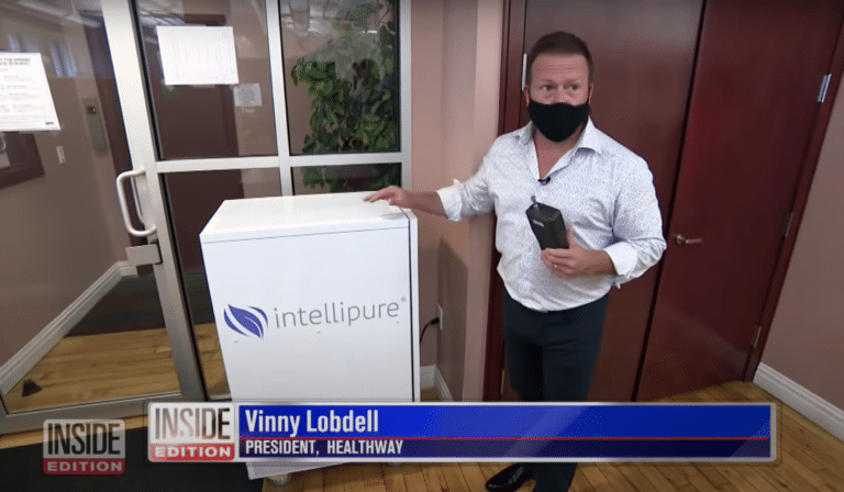Vinny Lobdell with Particle Counter and Intellipure Air Purifier